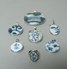 7 PIECE ANTIQUE CHINESE MING DYNASTY POTTERY SHARD & STERLING SILVER JEWELRY