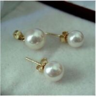perfect natural  7.5-8 mm AAA white south sea pearls earring + pendant SET 14K
