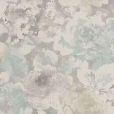 FLORENTINO TELA FLORAL PAPEL PINTADO GRIS/DE COLOR AZUL CLARO RASCH 455632