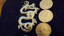 bling pewter China big fire DRAGON gothic pendant charm leather hip hop necklace