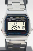 Casio A-158WA-1 Digital Steel Band Watch Stainless Alarm Stopwatch Casual New