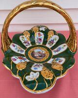 Vintage Large Porcelain Basket Courting Couple, Floral & Gold HUGE & RATE EC