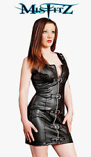 Misfitz blk leather look buckle dress sizes 8-32/made to measure Punk Biker Rock