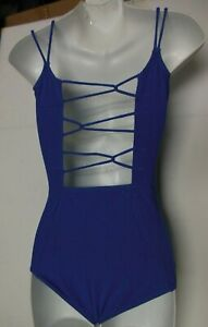 Gilda Marx Dance Leotard String Loop Camisole Iris Blue Girls Sizes cotton spand