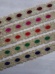 Gold Pearl Embroidery Indian Sari Border Lace Ribbon Trim Ethnic Craft 1 Yard