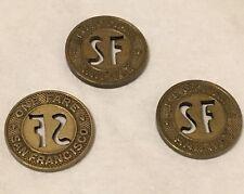 3x FARE TOKENS Vintage San Francisco MUNI MUNICIPAL RAILWAY Light Rail & Street