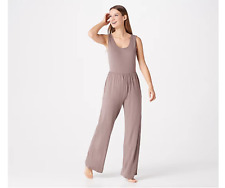AnyBody Petite Cozy Knit Button Front Jumpsuit Navy PXL NEW A367679