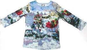Take Two T Shirt: Blue Snow Sleigh, 3 Quarter Sleeve