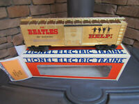 BEATLES LIONEL RGS TRAIN CAR/HELP 50TH ANNIVERSARY GOLD BX CAR/VERY RARE