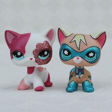 Super Hero #2291 2pcs LPS Toys Lot Littlest Pet Shop Rare Short hair Cat Married