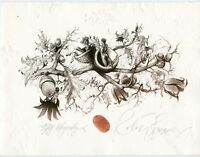 Fantasy Acorn Tree, Surrealistic Ex libris Free Graphic by Robert Baramov