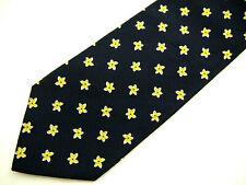 """Brooks Brothers Makers Mens Necktie Tie Navy Blue Yellow Floral Silk Classic 59"""""""