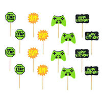 Game Theme Cake Cupcake Topper Birthday Party Cake Insert Cards Decoration