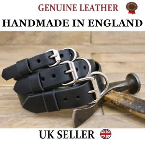 UK HANDMADE Dog Heritage Leather High Quality Flat Collar Rolled Chestnut Core