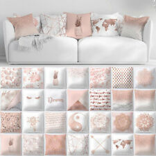 Pink Pillow Case Rose Gold Geometric Glitter Sofa Cushion Cover Floral Printed@