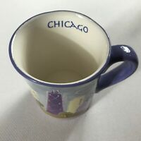 Chicago Coffee Mug Drink Cup Hand Painted Illinois City Colorful Buildings Gift
