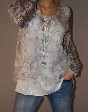 Wunderschöne Tunika Paisley 30% Seide Pailletten Bluse S 36-40 L Weiß Blau