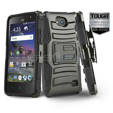BLACK REFINED ARMOR COVER PHONE CASE & SWIVEL HOLSTER CLIP FOR [ZTE MAJESTY PRO]