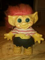 "Vtg 1960s PIRATE TROLL doll piggy bank w earring 7"" long red hair probably Dam"