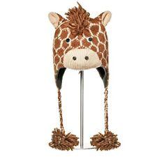 Delux Geoff Giraffe Dark Browns Winter Warm Wool Pilot Knitted Hat Knitwits NWT