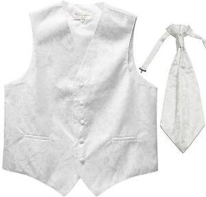New Men's Paisley Tuxedo Vest Waistcoat & Ascot Cravat Wedding Prom White
