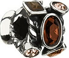JC-2C AUTHENTIC CHAMILIA STERLING SILVER MARQUIS BROWN CZ BEAD NEW