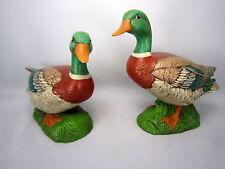 Vintage 1980s Mallard Duck Figurines Ceramic Handpainted USA  Signed