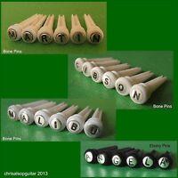 Engraved Bone & Brass Guitar Bridge Pins to Your Design. 5.5mm. PP005