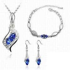Women Jewelry Set CZ Crystal 18k Gold Plated Chain Necklace Earring Bracelet Set