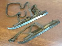 ANTIQUE PRIMITIVE WOOD ICE SKATES CURVED BLADES LEATHER STRAPS WELPLEY,.Superior