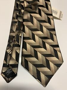 New Arrow USA 1851 Black & Gold Classic Tie Made in USA 100% Imported Silk T2