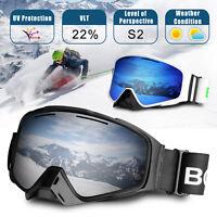 For Men Women Anti-Fog UV Protection Over Glasses Ski Snowboard Goggles + Case
