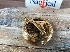 Brass Sundial Compass - Necklace Pendant - Old Vintage Antique Pocket Style