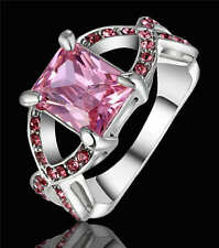 Size 8 Princess Pink Sapphire CZ Couple Wedding Rings18KT White Gold Filled