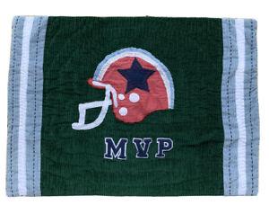 POTTERY BARN KIDS Football MVP Sports Pillow Sham Green Blue Corduroy Standard