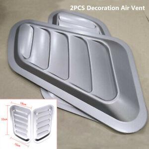 Universal Car Air Flow Intake Scoop Turbo Bonnet Vent Cover Hood Fender Silver