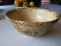 Vintage Stoneware Yellow SpongeWare Art Pottery Bowl Green Brown As Is