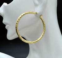 10k Solid Yellow Gold big Large hoop Diamond Cut Earrings 2'' 50mm x3MM 4.01gr