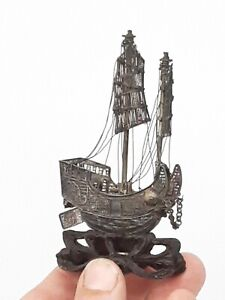 """Antique Chinese Export Silver Filigree Boat Ship Ebony Carved Base ~ 4"""" x 2 1/2"""""""