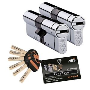 Pair Avocet ABS 3 Star Keyed Alike Anti Snap Euro Cylinder Door Lock Upvc TS007