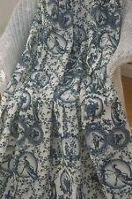 80cm remnant AZURE BLUE Toile de Jouy COTTON VELVET Upholstery Curtain Fabric