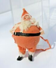 Antique German Santa Claus Composition Face Boots Ribbon Hanging Candy Container