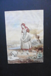 FRENCH SCHOOL 19thC - THE UNFORTUNATE MAID - WATERCOLOR SIGNED JOSE