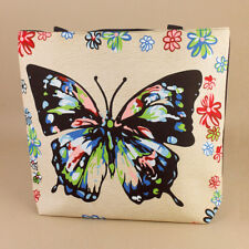 Butterfly Flowers Tote Bag Beach Reusable Shopping Bag Nappy Bag Picnic Rainbow