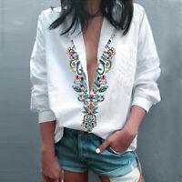 Women Fashion Ethnic Sexy Deep V Neck Floral Print Long Sleeve Shirts Blouse A/5