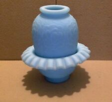 Vintage Persian Medallion Pattern Fenton Glass Fairy Light. Blue Satin Glass