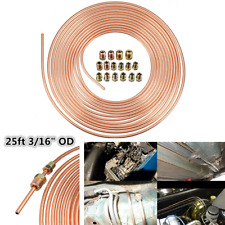 "5ft 7.62m 3/16"" OD Copper Nickel Car Brake Line Tubing Kit With 16PCS Tube Nuts"