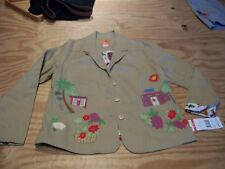 Hearts of Palm Lined Colorful Blazer SZ 8..Khaki With Multi Colored Appliques