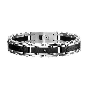 INOX 316L Black IP Stainless Steel with CZ Hammered Link Bracelet 8.5""