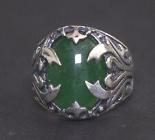 Sterling Silver Men's Ring, jade natural stone